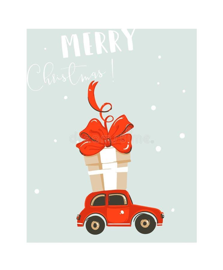 Нарисованная рукой карточка иллюстрации шаржа времени потехи конспекта вектора с Рождеством Христовым с большой красной игрушкой  иллюстрация вектора