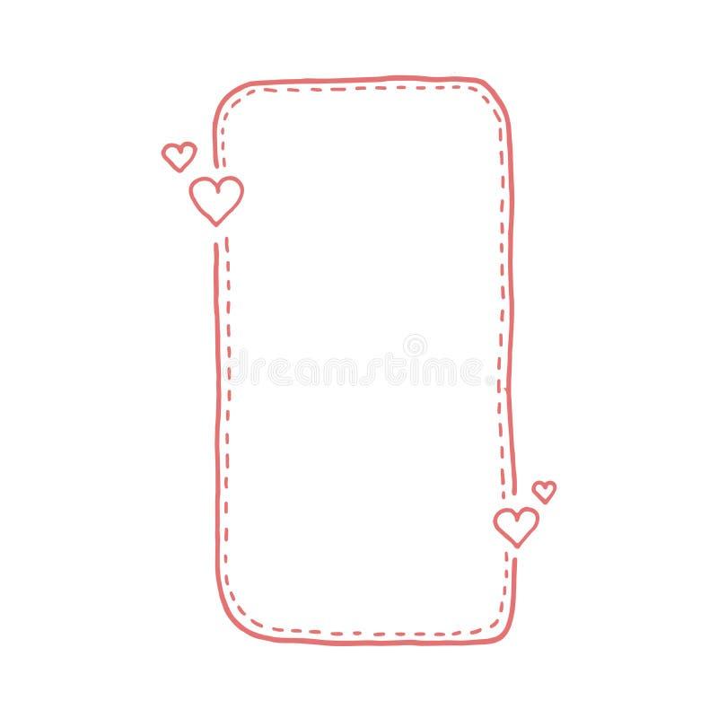 Нарисованная рукой линия брошенная цитатой коробки Doodle тип Милая симпатичная предпосылка для вашего текста влюбленности иллюстрация вектора