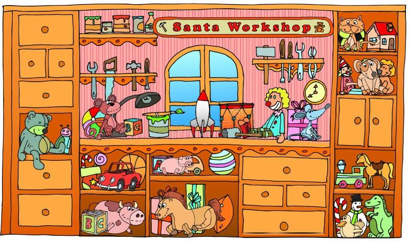 Нарисованная рукой мастерская santa рождества иллюстрация штока