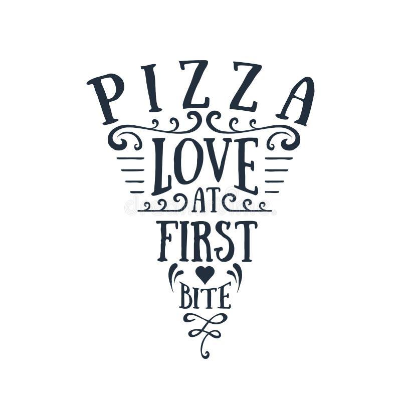 Нарисованная рукой отрезанная пиццей форменная литерность вектора бесплатная иллюстрация