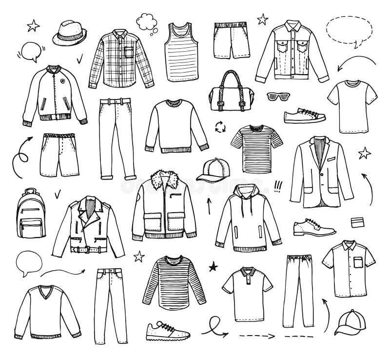 Нарисованная рукой одежда ` s людей иллюстрация штока