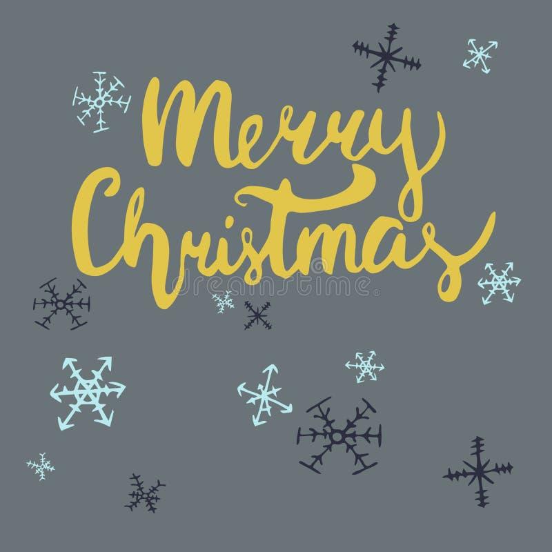 Нарисованная рукой поздравительная открытка вектора рождества предпосылка красит желтый цвет праздника красный стоковое изображение rf