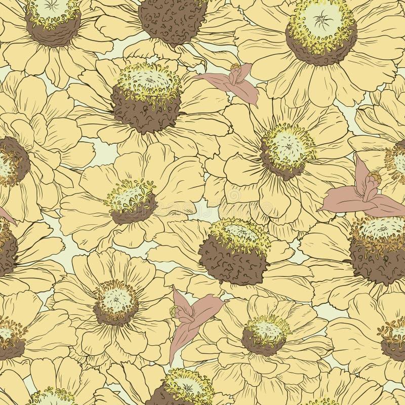 Нарисованная рукой предпосылка картины флористическая Лепестки цветка желтые Упаковка, ткань, оборачивая, печати, карточки, weddi бесплатная иллюстрация