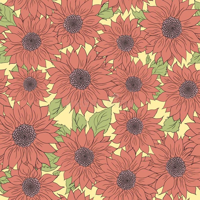 Нарисованная рукой предпосылка солнцецветов картины Пинк цветка, зеленый Упаковывая продукты иллюстрация штока