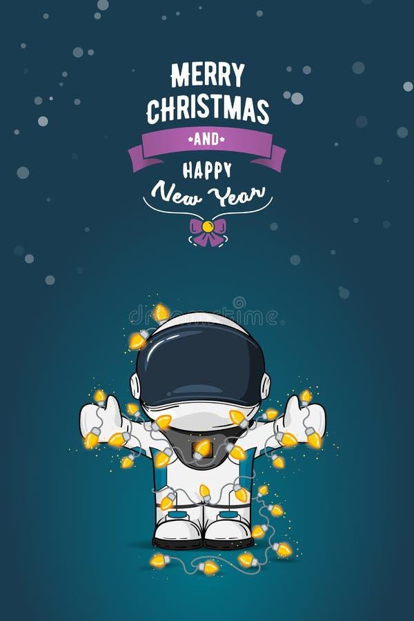 Нарисованная рукой плоская иллюстрация вектора Астронавт шаржа в костюме пилота с гирляндой светов рождества карточка 2007 привет иллюстрация вектора
