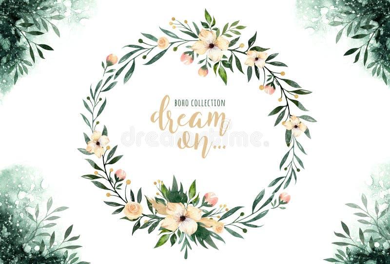 Нарисованная рукой растительность картин акварели выходят и венки цветка Зеленый цвет и золото стиля Boho Иллюстрация изолированн иллюстрация вектора
