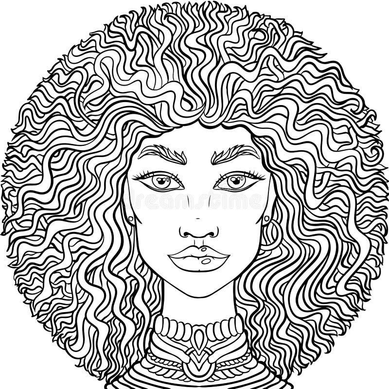 Нарисованная рукой сторона girlss doodle на белой предпосылке Портрет женщин для взрослой книжка-раскраски иллюстрация штока