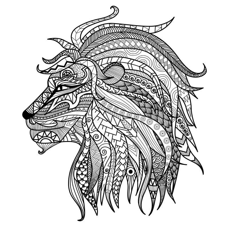 Нарисованная рукой страница расцветки льва иллюстрация вектора