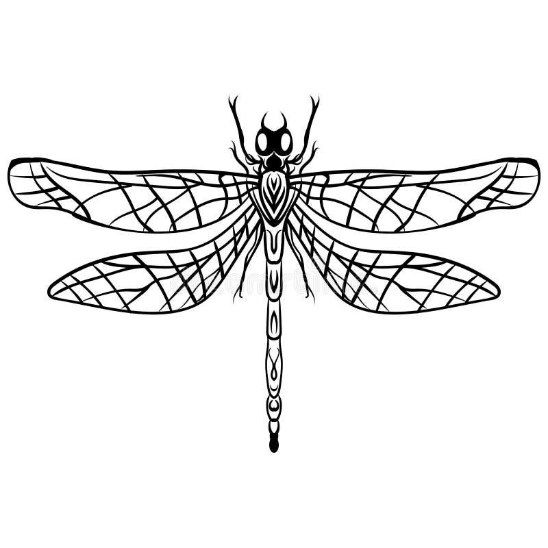 Нарисованная рукой татуировка вектора Dragonfly эскиза иллюстрация вектора