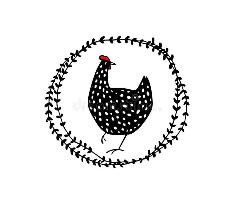 Нарисованная рукой флористическая эмблема цыпленка иллюстрация вектора