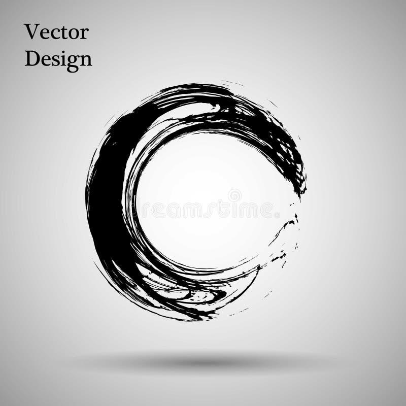 Нарисованная рукой форма круга ярлык, элемент дизайна логотипа Волна конспекта щетки Черный символ Дзэн enso также вектор иллюстр иллюстрация вектора