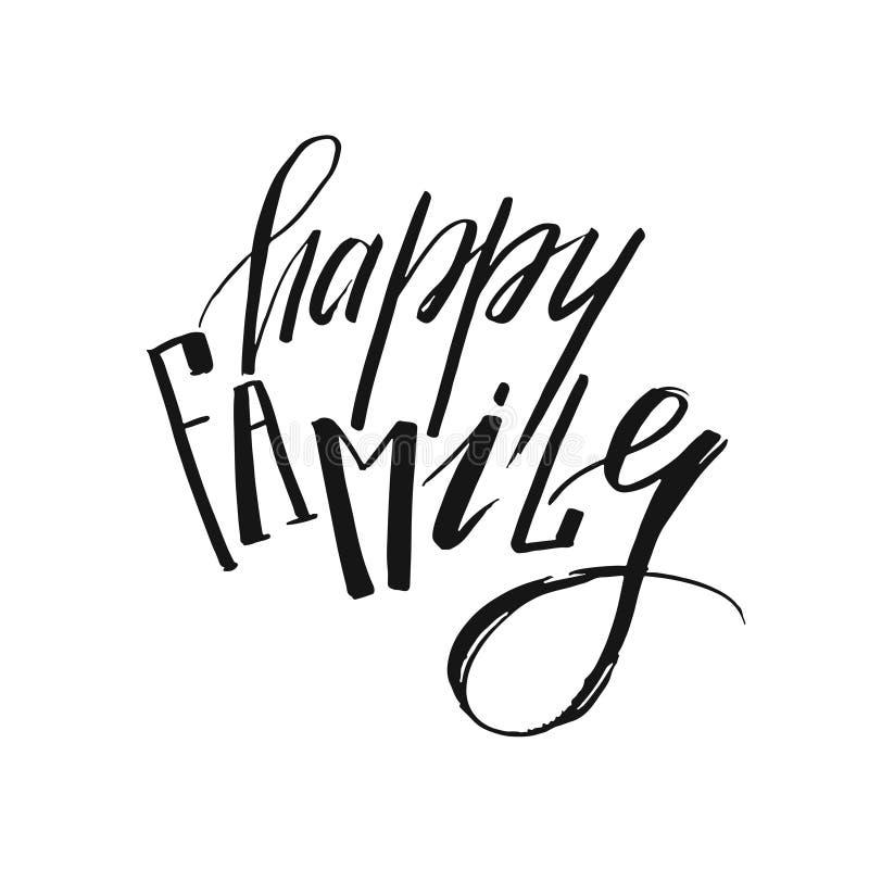 Нарисованная рукой цитаты каллиграфии чернил вектора семья графической рукописной современной счастливая изолированная на белой п бесплатная иллюстрация