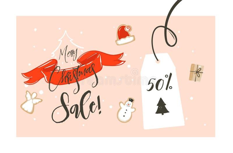 Нарисованная рукой шаржа времени покупок вектора лента красного цвета дизайна заголовка иллюстрации приветствию с Рождеством Хрис иллюстрация вектора