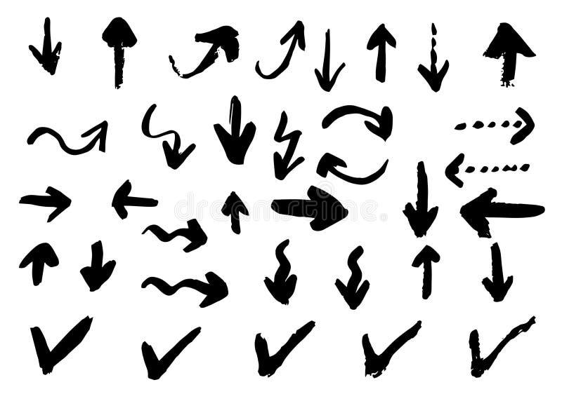 Нарисованная рукой щетка вектора сухая штрихует стрелки иллюстрация штока