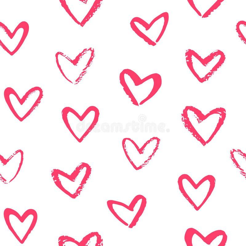 Нарисованная щеткой картина дня валентинки сердец стиля doodle безшовная иллюстрация штока