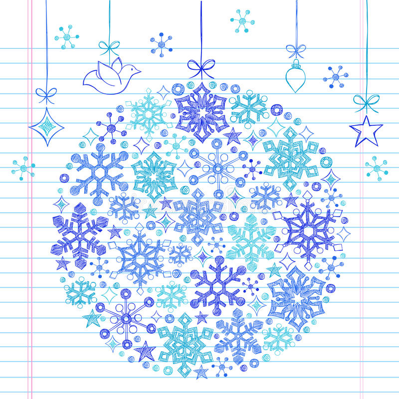 нарисованная doodle снежинка орнамента руки схематичная иллюстрация вектора