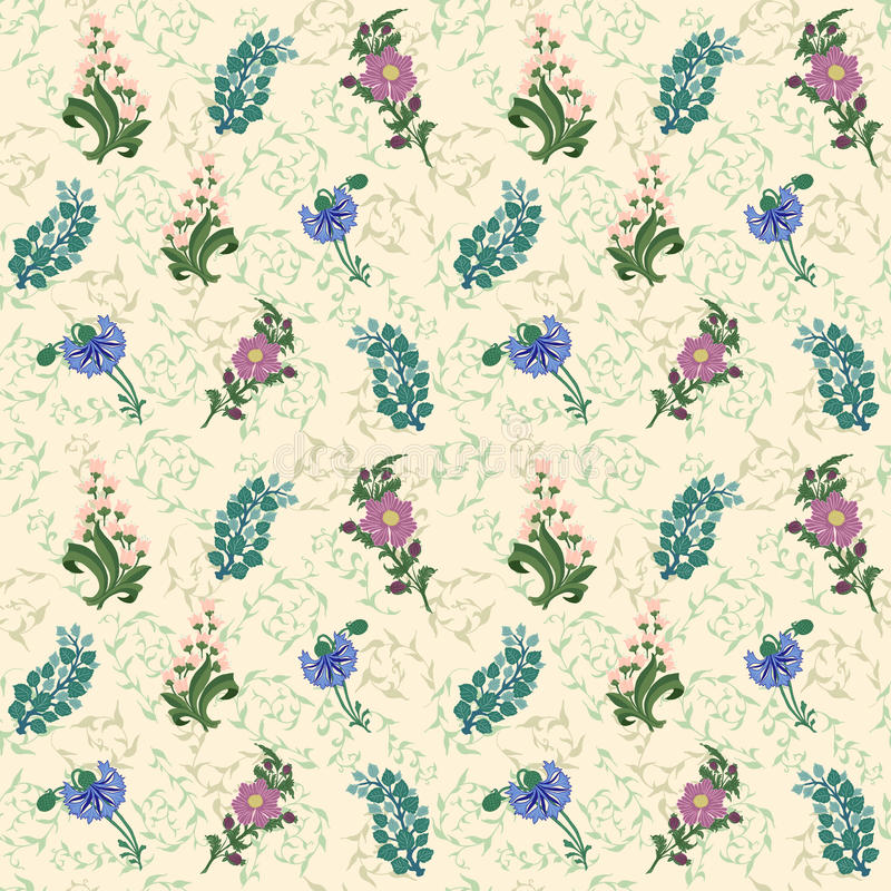 Нарисованная Wildflowers предпосылка картины Ландыш, cornflower иллюстрация вектора