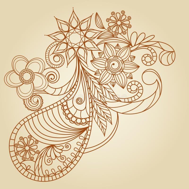 нарисованное конспектом mehndi хны руки иллюстрация штока