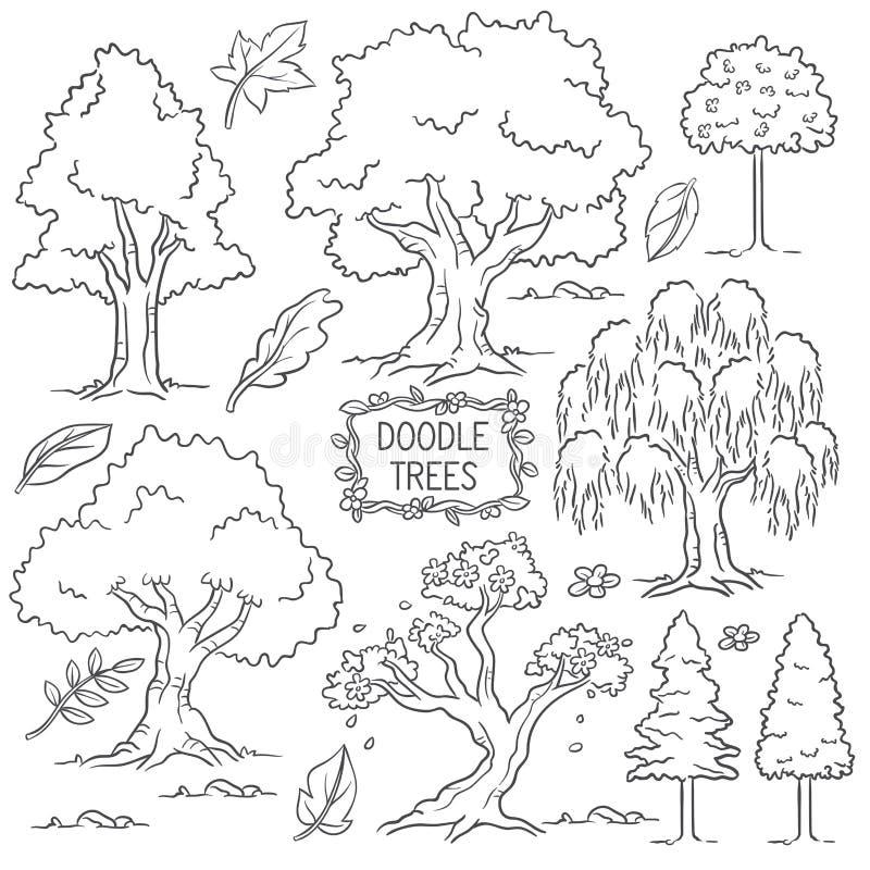 Нарисованное рукой дерево doodle иллюстрация штока