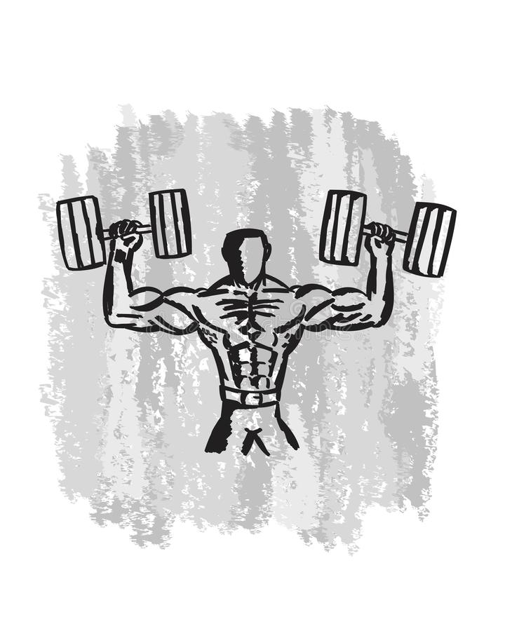 Нарисованное рукой искусство спортзала построителя тела стоковое фото rf