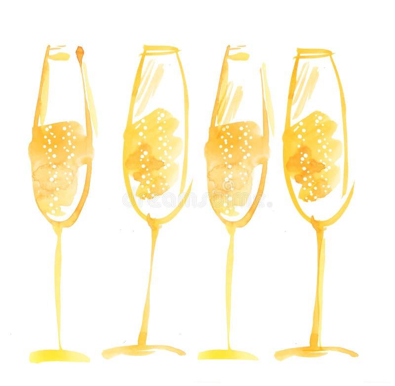 Нарисованное рукой шампанское акварели иллюстрация штока