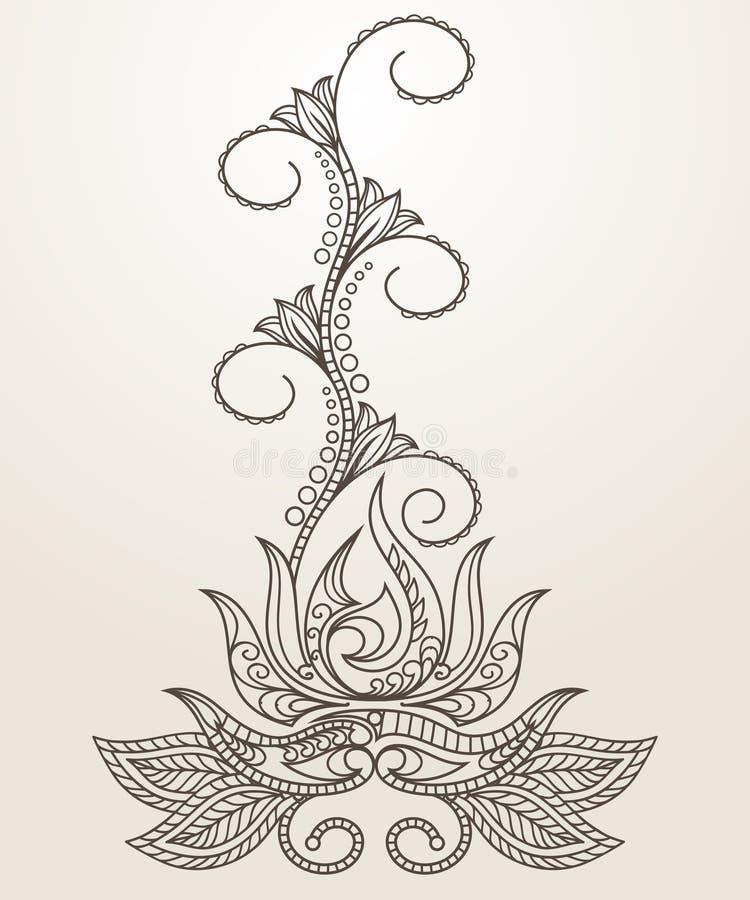 Нарисованные вручную абстрактные цветки и Пейсли конспекта Mehndi хны иллюстрация вектора