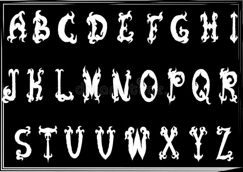 Нарисованные вручную винтажные готические введенные в моду письма abc бесплатная иллюстрация
