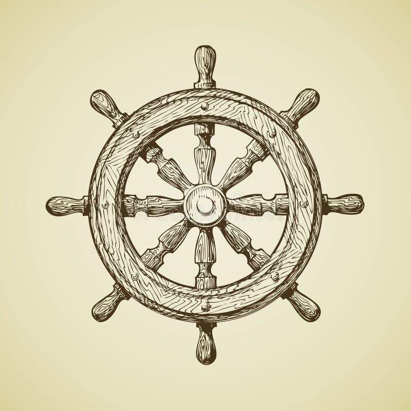 Нарисованные вручную винтажные корабли катят внутри старомодный стиль также вектор иллюстрации притяжки corel иллюстрация вектора