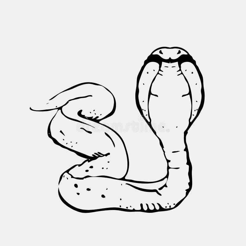 Нарисованные вручную графики карандаша, змейка, кобра Гравировка, стиль восковки Черно-белый логотип, знак, эмблема, символ штемп иллюстрация вектора