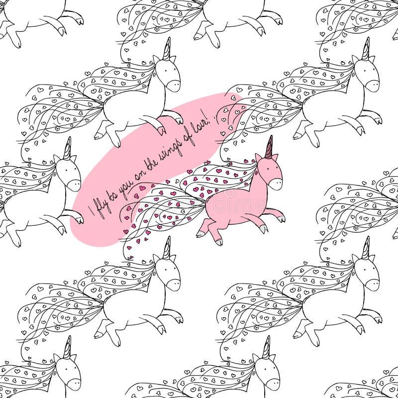 нарисованные вручную иллюстрации Открытка для любовников Единороги летания картина безшовная иллюстрация штока
