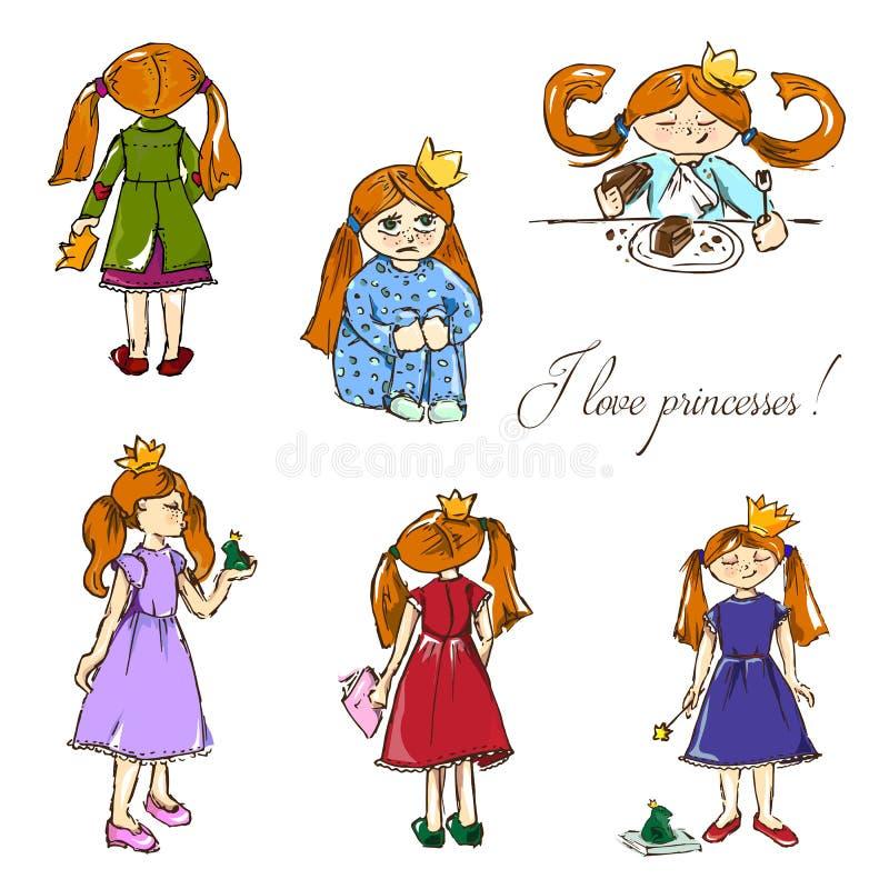 нарисованные вручную иллюстрации Я люблю принцесс Открытка с красными девушками в кронах картина безшовная иллюстрация вектора