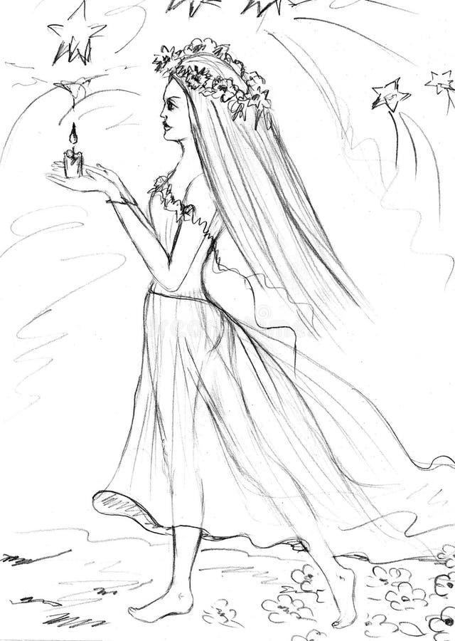 Нарисованные вручную идя молодые женщины стоковые фото