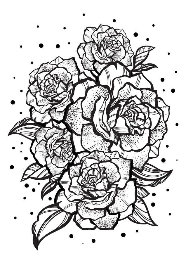 Нарисованные вручную красивые розы Татуировка ART Картина Графический винтажный состав Изолированная иллюстрация вектора Футболки бесплатная иллюстрация