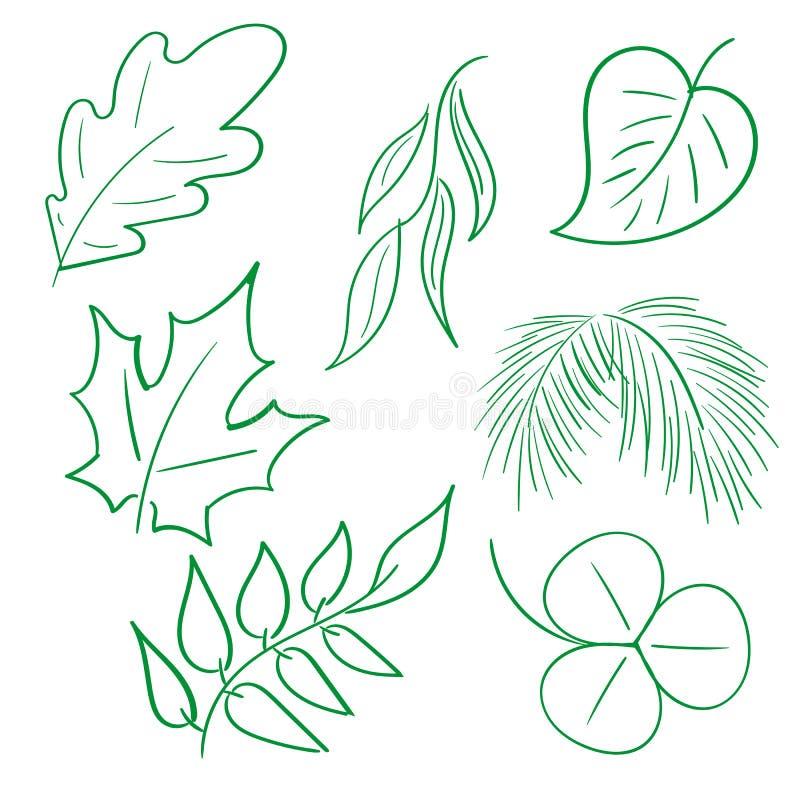 Нарисованные вручную листья стоковые изображения rf