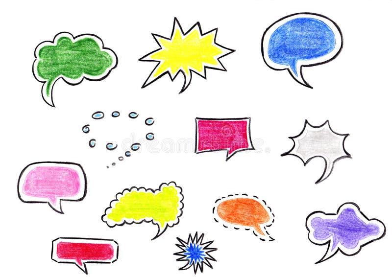 Нарисованные вручную пузыри речи иллюстрация штока