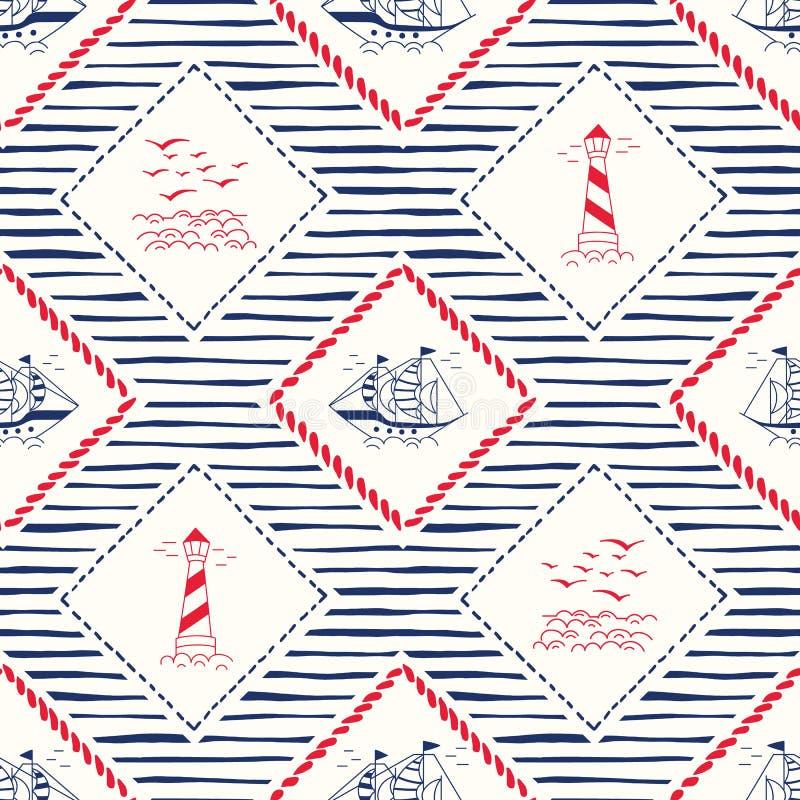 Нарисованные вручную рамки веревочки с кораблем, маяком, пейзажем чайок и картиной вектора нашивок безшовной Морская предпосылка бесплатная иллюстрация