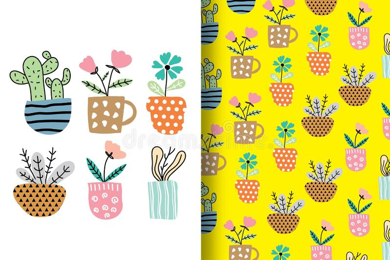 Нарисованные вручную цветки аранжированное смешное с картинами иллюстрация вектора