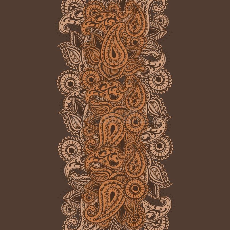 Нарисованные вручную цветки мандалы конспекта Mehndi хны и Doodle Пейсли иллюстрация штока