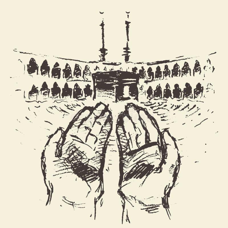 Нарисованные руки Саудовской Аравии святой мекки Kaaba моля иллюстрация вектора