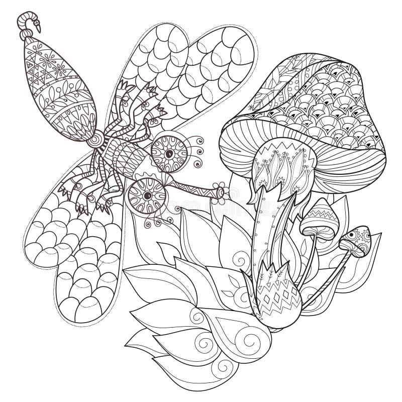 Нарисованные рукой грибы волшебства плана doodle бесплатная иллюстрация