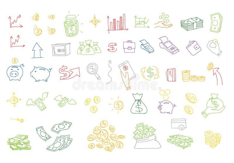 Нарисованные рукой деньги иллюстраций вектора чеканят счеты Элементы дизайна Doodle иллюстрация вектора