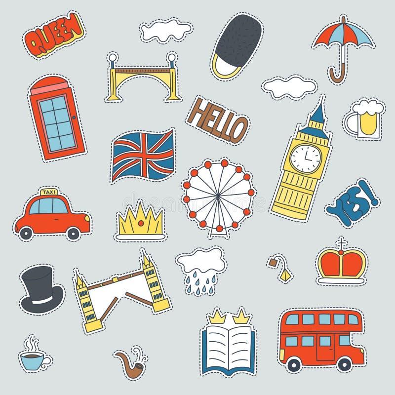 Нарисованные рукой значки заплаты с объединенными символами Kongdom - повезите чашку чаю на автобусе зонтика флага шляпы облака к иллюстрация штока