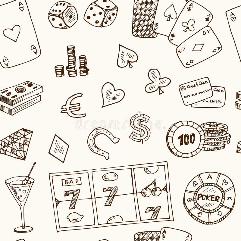 Нарисованные рукой значки казино картины doodle безшовные также вектор иллюстрации притяжки corel Символы шаржа играя в азартные  иллюстрация штока