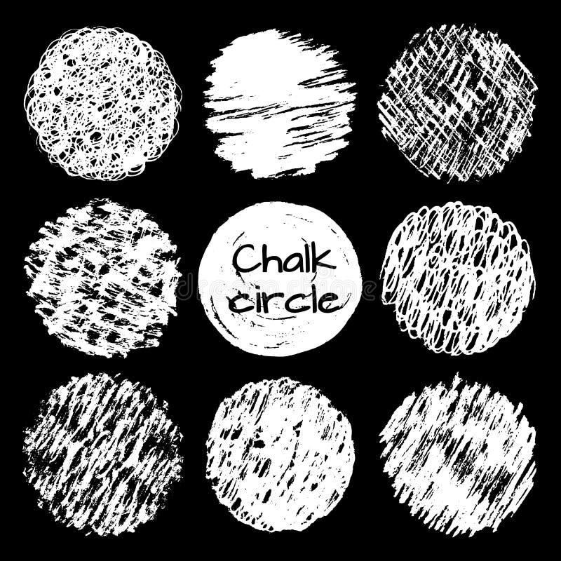 Нарисованные рукой линии мела scribbles кругам различные установленные текстуры иллюстрация вектора
