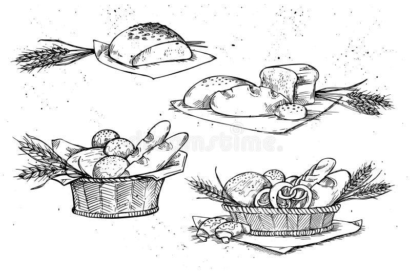 Нарисованные рукой иллюстрации вектора - магазин хлебопекарни Гастроном бесплатная иллюстрация