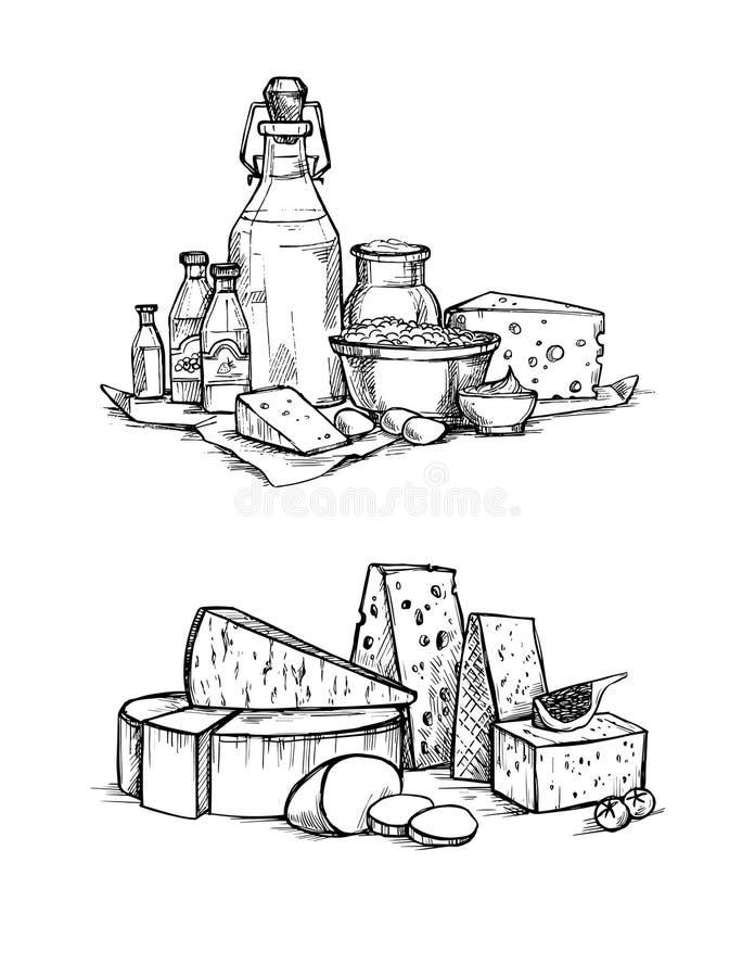 Нарисованные рукой иллюстрации вектора Моццарелла сыра и молока установленная иллюстрация штока