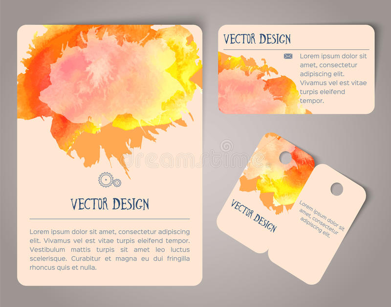 Нарисованные рукой карточки акварели иллюстрация вектора