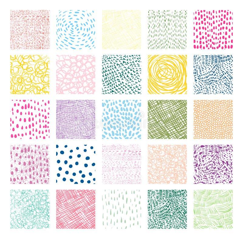 Нарисованные рукой красочные квадратные текстуры вектора иллюстрация вектора