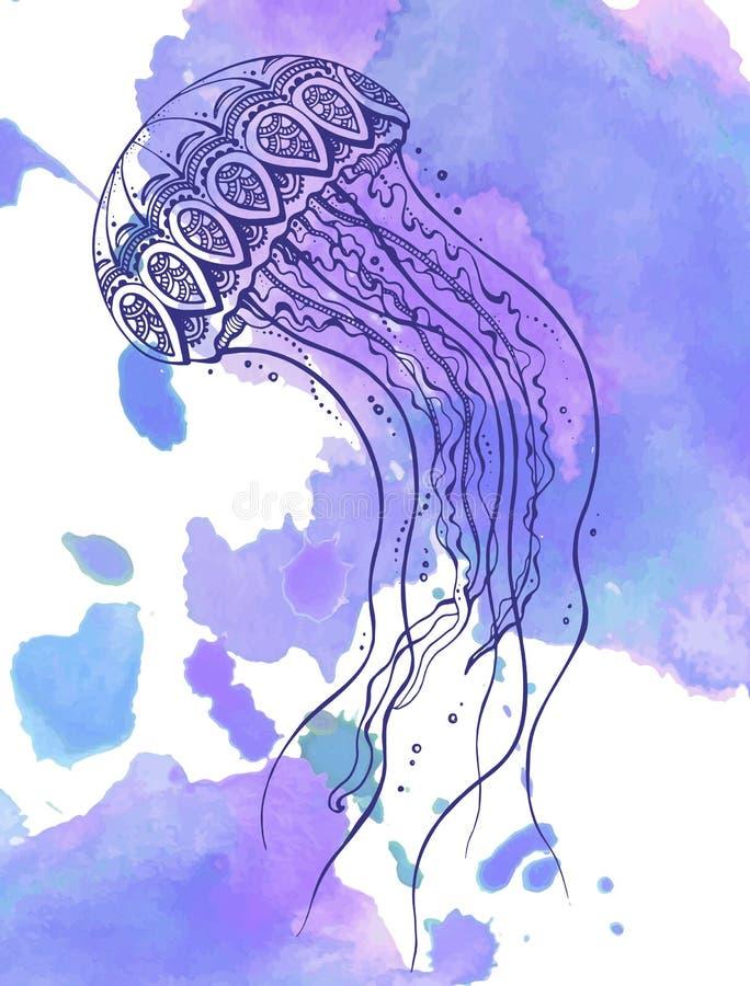 Нарисованные рукой медузы вектора в стиле doodle zentangle иллюстрация штока