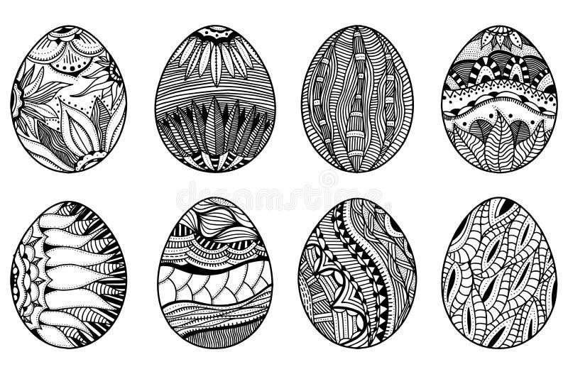 Нарисованные рукой пасхальные яйца иллюстрация вектора